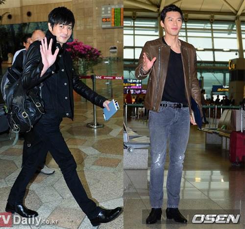 Cá tính cùng thời trang sân bay hai thế hệ sao nam xứ Hàn