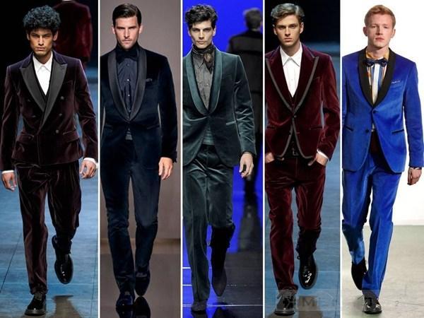 Mẫu thời trang nam bằng chất liệu nhung cho áo blazer nam lịch lãm