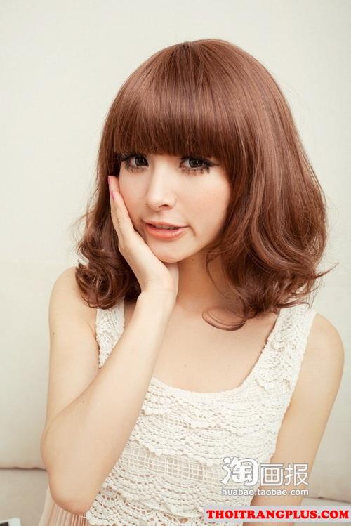 2 kiểu tóc uốn cho cô nàng khuôn mặt tròn bụ bẫm