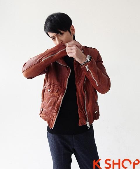 Áo khoác da nam ngắn đẹp Hàn Quốc ấm áp không lạnh