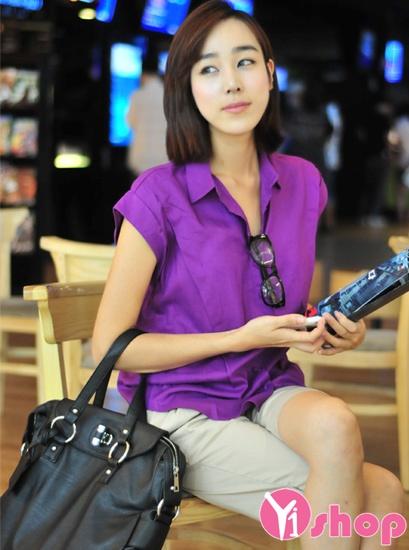 Áo sơ mi nữ màu tím đẹp hàn quốc quyến rũ tới công sở tự tin