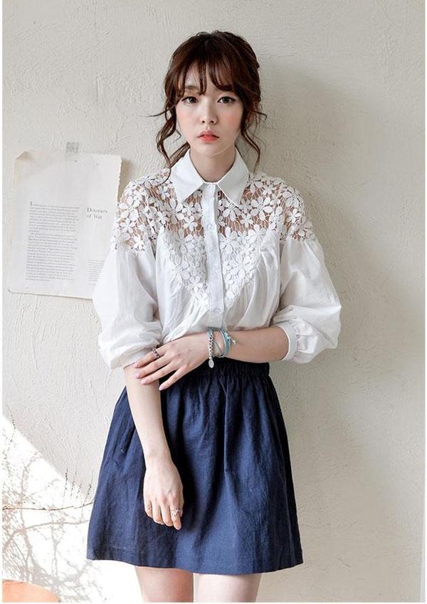 Áo sơ mi nữ phối ren Hàn Quốc đẹp thanh lịch cô nàng công sở