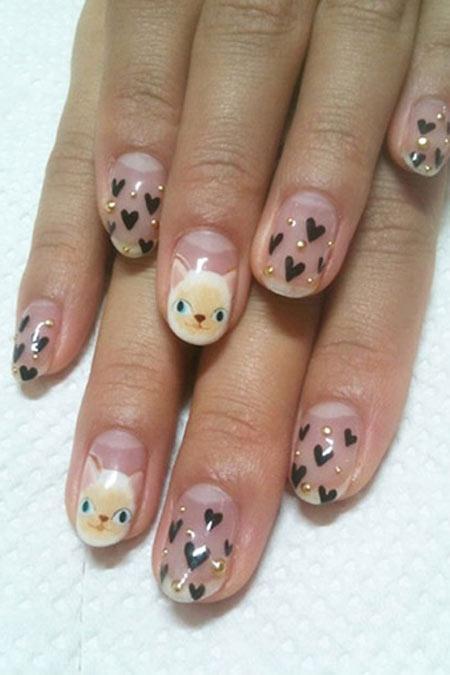 Mẫu nail hình mèo dễ thương