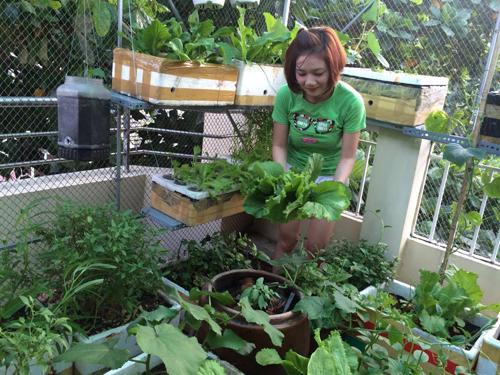 Mẹ 9X xinh xắn thức đêm trồng rau, nuôi gà