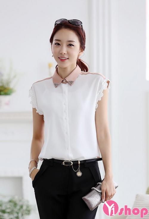 Thời trang áo sơ mi nữ vải voan trắng Hàn Quốc đẹp cho nàng công sở