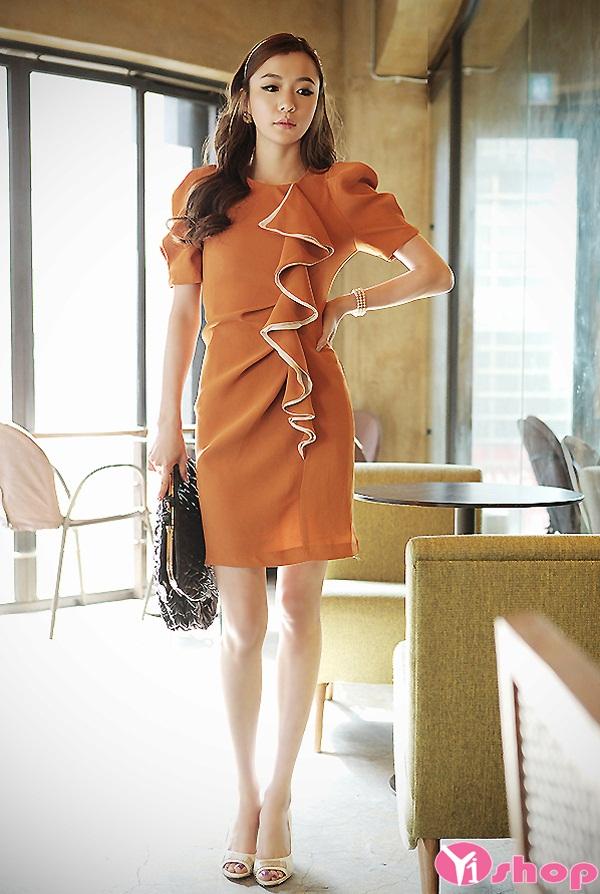Thời trang váy đầm liền tay bồng đẹp cho nàng công sở đầy đặn