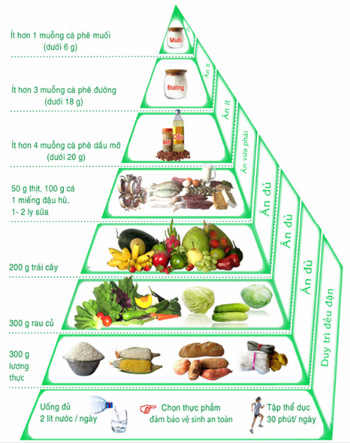 Tính toán khẩu phần ăn khoa học dựa vào tháp dinh dưỡng