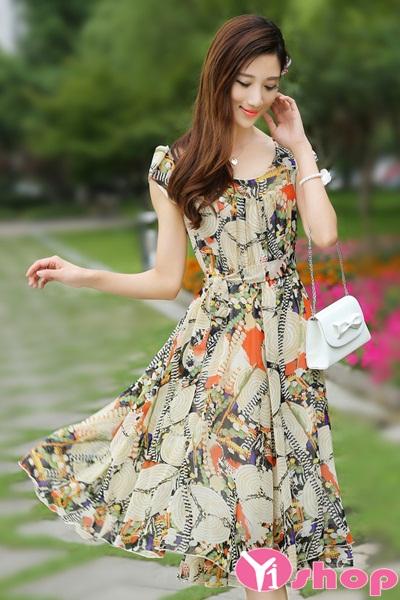 Váy đầm liền thân xòe công sở đẹp hàn quốc duyên dáng cá tính