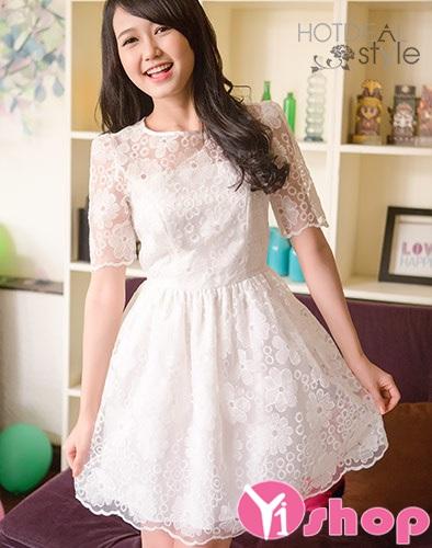Váy đầm ren xòe đẹp thanh lịch cho nàng cao gầy duyên dáng