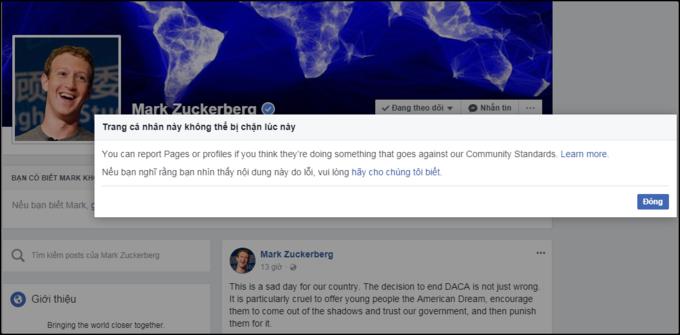 Việc người dùng không thể chặn Mark Zuckerberg trên fb