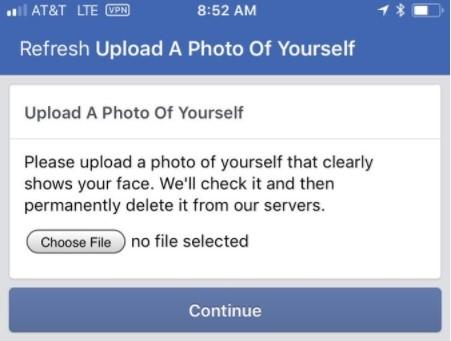 Facebook khóa tài khoản, đòi người dùng upload ảnh selfie