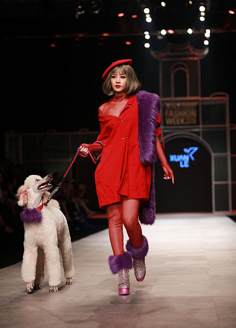 Hoa hậu Ngọc Hân táo bạo không nội y, Chi Pu dắt cún trên sàn diễn