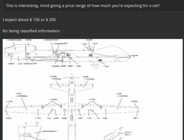 150USD là giá của Hacker rao bán tài liệu về máy bay không người lái của quân đội Mỹ