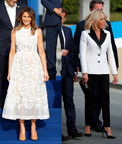 Mẫu váy áo của Melania Trump và Brigitte Macron ở Bỉ có thông điệp gì?