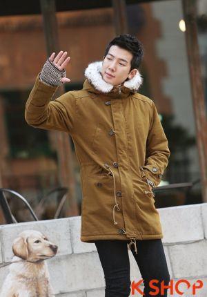 Áo khoác nam phao lông có mũ kiểu Hàn Quốc cho chàng mạnh mẽ