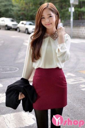 Áo sơ mi nữ tay bo công sở Hàn Quốc đẹp xuân trẻ trung
