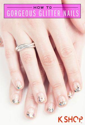 Cách vẽ 2 mẫu móng tay nail kim tuyến đẹp đơn giản xinh xắn cho bạn tự tin