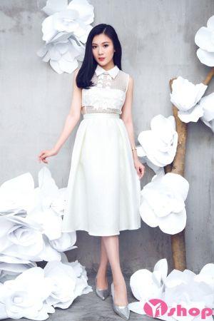Mẫu váy đầm liền dáng xòe đẹp cách điệu gam màu đen trắng cá tính