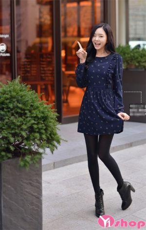 Mẫu váy đầm liền thân dáng xòe đẹp cho nàng công sở thanh lịch