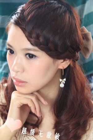 Kiểu tóc tết mái viền phong cách Hàn dễ thương
