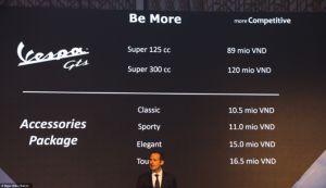 Piaggio Việt Nam công bố giá bán của mẫu tay ga GTS
