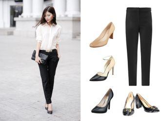 """Cách chọn giày """"đúng cạ"""" cho quần tây nữ thanh lịch. Cách chọn giày """"đúng cạ"""" cho quần tây nữ thanh lịch"""
