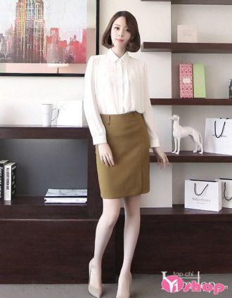 Chân váy đầm bút chì dáng dài đẹp trẻ trung tới công sở