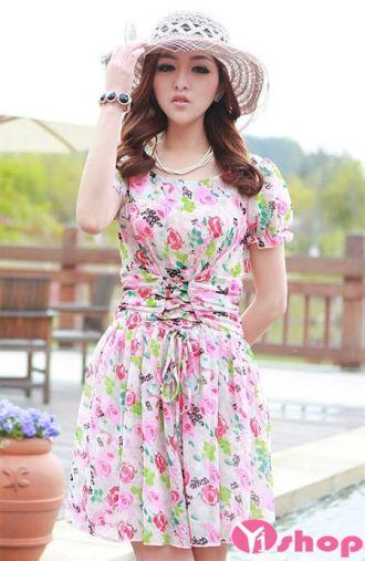 Thời trang váy đầm dáng xòe tay bồng đẹp cho nàng gầy mảnh mai