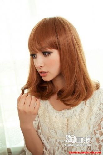 Tóc ngắn ngang vai uốn cụp Hàn Quốc cho nàng dễ thương