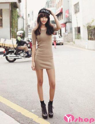 Váy đầm len liền thân đẹp xu hướng thời trang hàn quốc cá tính