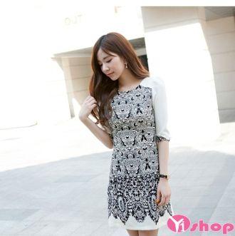 Váy đầm liền thân tay lỡ đẹp cho nàng công sở thanh lịch