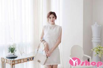 Váy đầm liền thân trắng đẹp form dáng hàn quốc thời thượng độc đáo