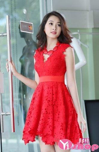 Váy đầm ren liền thân đẹp quyến rũ dịu dàng