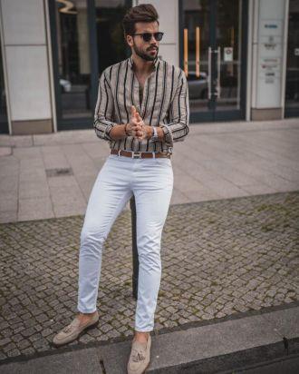 """Bắt trend với quần jeans trắng giúp chàng xuống phố""""nổi bần bật"""""""
