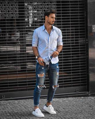 """""""Nam tính miễn bàn"""" với 7 cách phối quần jeans rách gối"""